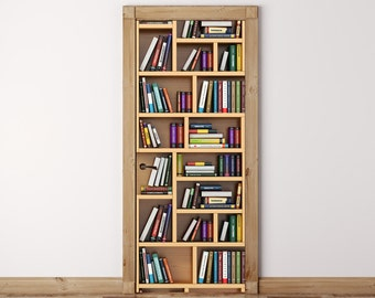 Door Mural Books on the bookshelf - Self Adhesive Fabric Door Wrap Wall Sticker