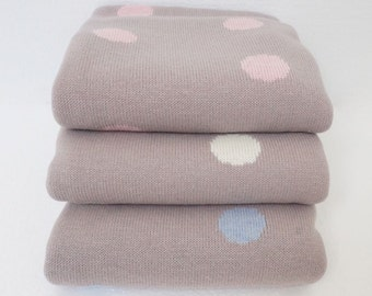 Super Soft Baby Blanket with Big Polka Dots