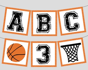 Basketball Banner Full Alphabet + Numbers for Basketball Birthday Party, Baby Shower, Team Party. Instant Digital Download. Black & Orange