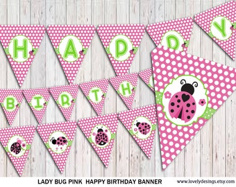 Ladybug Banner, PINK Ladybug Birthday banner, party banner, Banner printable, Instant Download PDF