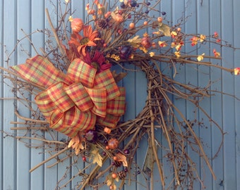 Fall wispy grapevine wreath/dragon vine/fall wreath/pumpkin/fall decorations/country/gourds/fall decor