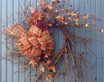Fall wispy grapevine wreath/dragon vine/fall wreath/pumpkin/fall decorations/country/gourds/fall decor