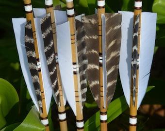 Archery arrows, 4 fletched poplar arrows set of 5