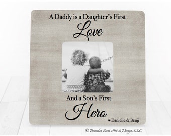 A daughter's first love a sons first hero frame gift for dad on Fathers Day gift for Daddy Father Dad, Father Gift, Dad Frame, Gift for Dad