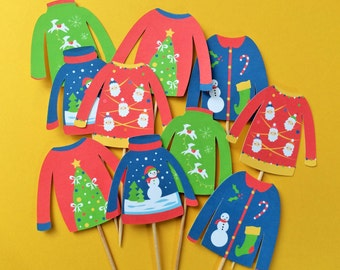 Ugly sweater cupcake toppers, Ugly sweater toppers, Christmas cupcake toppers, Christmas tree cupcake toppers, Ugly sweater toppers