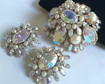 Dazzling Vintage Schreiner N.Y Brooch Pendant & Earrings Set~Aurora Borealis/Clear Rhinestones/Pearls/Gold Tone~Signed