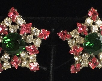 Dazzling Vintage Schreiner Earrings~Emerald Green/Pink/Clear Rhinestones/Silver Tone~Signed