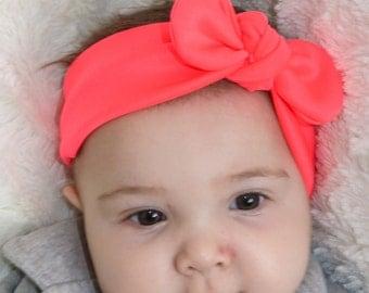 Neon Pink Knot Headband, jersey knit headband, neon pink headband, hot pink baby girl gift
