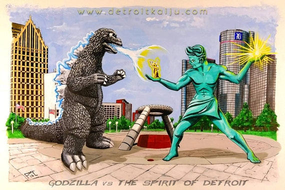 "Godzilla vs The Spirit of Detroit"" 12x18 Poster of Original Art by Peter M Coe, Detroit Kaiju, Ltd Edition"
