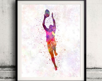 Rugby man player 03 - Fine Art Print Glicee Poster Decor Home Watercolor Gift Room Children's Illustration Wall - SKU 1697