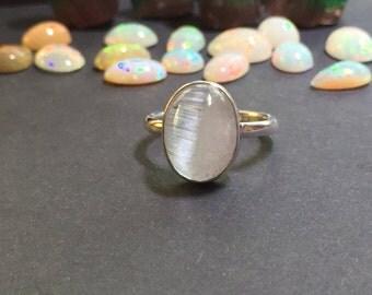 Bi Colour Cats Eye Aquamarine/Morganite Cabochon & Sterling Ring. Size US-6.25, UK- M.