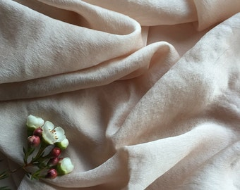 Silk chiffon satin fabric in a soft neutral warm taupe tone, hand-dyed silk table runner, bridal bouquet,