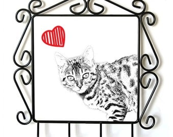 Bengal- clothes hanger with an image of a cat. Collection. Cat with heart.