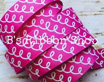 """7/8"""" White Glitter Squiggles on Raspberry Rose USDR 1 yard grosgrain ribbon"""