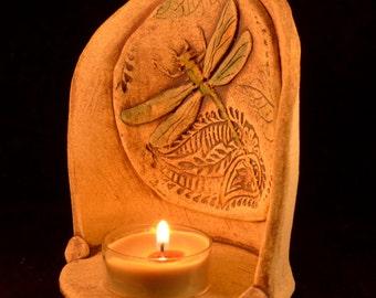Embossed Stoneware Dragonfly Candleholder
