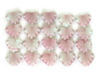 20 Mint green opaque w/ raspberry pink glaze 13 x 11mm maple leaves. Set of 20.