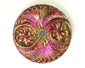 Gold Green w/ Pink reflection double swirl 32mm Czech glass button. One button.