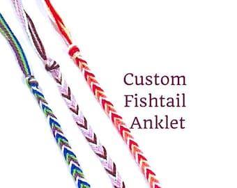 Custom String Anklet- Fishtail Anklet, Friendship Anklet, Braided Anklet, Bracelet Set, Made to Order, Thread Bracelet, String Friendship