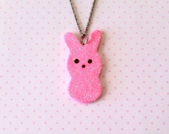 Marshmallow bunny necklace, polymerclay