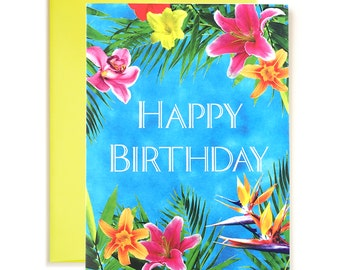 Tropical Escape Happy Birthday Card