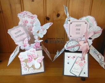 Belle De Fleur Collection Pop Up 3d Box Handmade Greeting Cards - Vintage chic theme