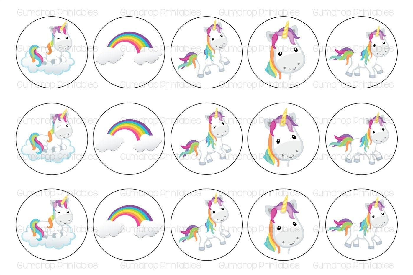 Unicorn Rainbows Bottlecap Image Digital Sheet Instant