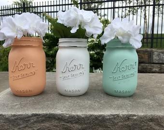 Painted mason jar, baby shower decor, baby showwr mason jar, mint peach mason jar