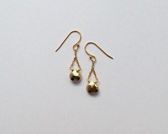 Gold pyrite earrings - pyrite earrings - gold earrings - gold drop earrings