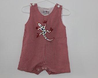 Vintage romper Jon jon romper 6 months boy red gingham lizard shortall overalls