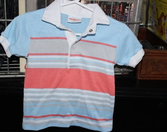 Health-Tex 2t boy rugby stripe polo collared shirt