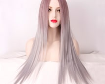 Pastel Wig Sexy Ombre Colocasia Color Long Straight Women Wig Cosplay Wig Natural Straight Wig Middle hair Fringe Anime Harajuku Lolita Wig