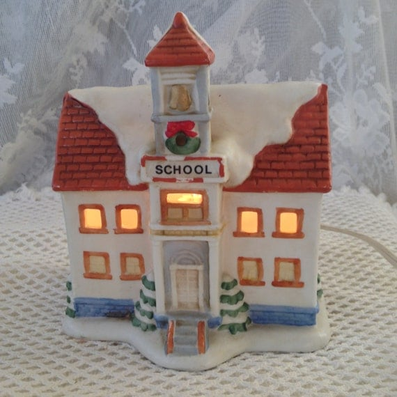 Homco Christmas Village School House Dickens Style Ceramic