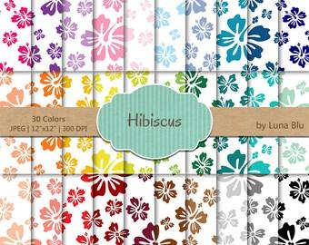 "Hibiscus Digital Paper pack: ""Rainbow Hibiscus"" floral digital paper, rainbow digital paper, floral scrapbook paper, summer digital paper"