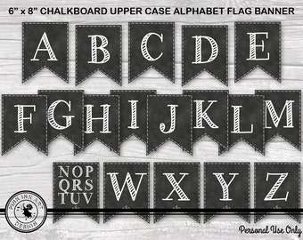 Chalkboard - Upper Case Alphabet - All Occasion - Digital 8 Inch Flag Bunting - DIY Printable Party Banner - INSTANT DOWNLOAD