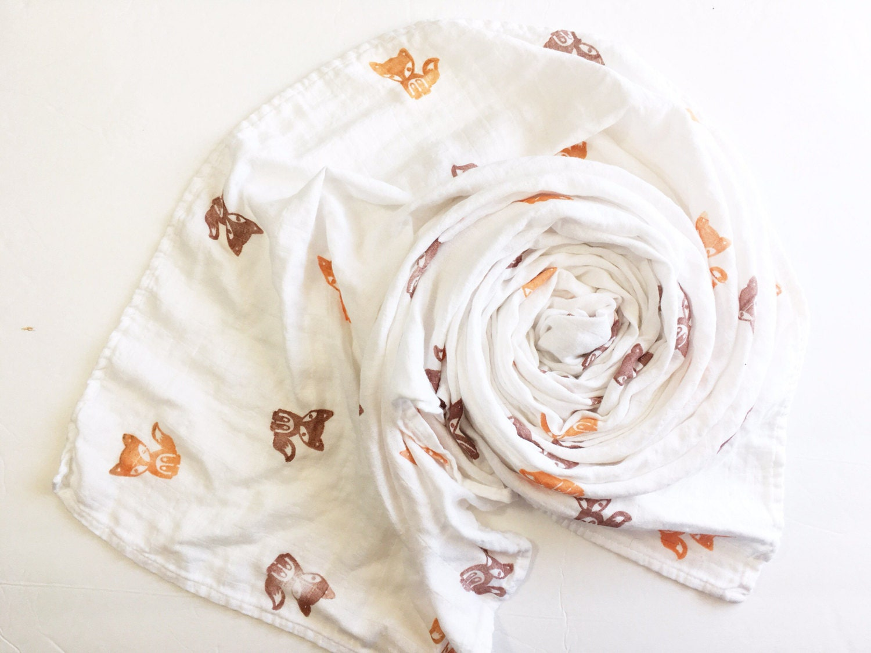 Organic Muslin Swaddle Blanket Frankie The Fox Organic Cotton