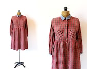 vintage dress 90's plaid flannel grunge clothing red denim collar oversized 1990's women's clothing size medium m