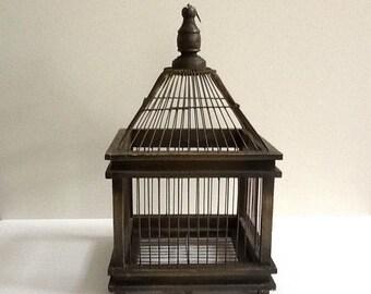 Mid Century Wood & Metal Bird Cage