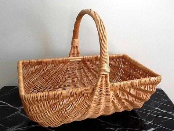 Extra Large Rectangular Woven Wicker Gardening Basket Wicker
