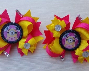 Minion girls hair bows. Hot pink!  Set of 2. Perfect for piggy tails :)  MINIONS