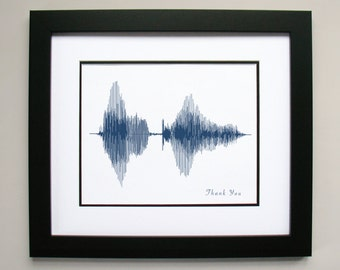 Thank You - Voice Art / Sound Wave Print, Canvas, or Framed Print - Say Thanks with this Soundwave Design