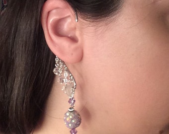 Moonlit Night - silver, crystal and purple cuff earring