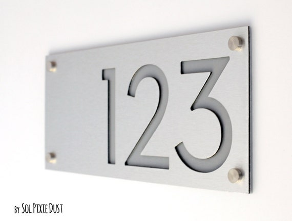 Modern house numbers alucobond with grey acrylic for Modern house numbers canada