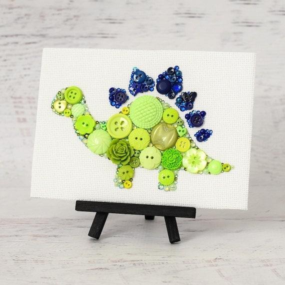 Custom Button Dinosaur Handmade Button Art Stegosaurus