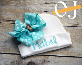 Personalized Name Baby Hat - Infant Hospital Hat - embroidered - Newborn Hat - Newborn Hat with Bow - Girl - Aqua and Gold