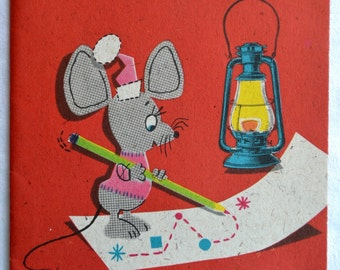 Vintage Christmas Card - Mouse Fold Out - Used