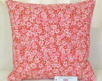 "CUSHION COVER 17""x17"" 43cm sq. Ashley Wilde Poppy Floral 100% Cotton Pink Red"
