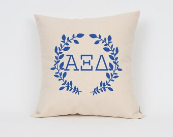 alpha xi delta wreath pillow choose your ink color greek letter pillows sorority pillow big little gift sorority letters