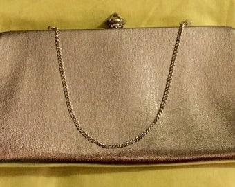 Vintage 1950s Purse Clutch Evening Bag Silver w/ Hidden Chain Harry Levine HL