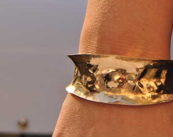 Wide hammered 14K gold-filled cuff bracelet