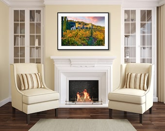 Autumn Photography, Large Napa Valley Vineyard Photo, Winery Castle Print, California Wine Country, Calistoga Harvest Canvas, Yellow Green